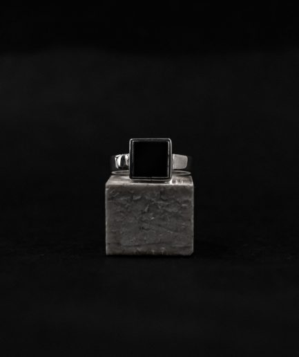 bold mens signet ring, square onyx mixed with shiny sterling silver.