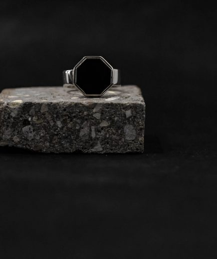 octagon onyx sterling silver ring