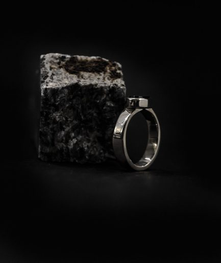 men's ring that's made from sterling silver and catchy onyx