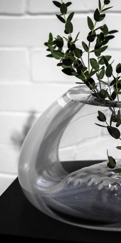 this large & low blown glass vase