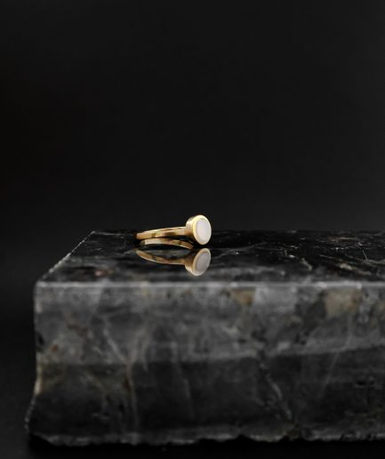capture the power and sensuality of femininity by choosing this gold-plated sterling silver ring mixed with 7 mm milky cacholong opal. wear just one or mix with other RO STUDIO jewelry and create your own ring artwork.