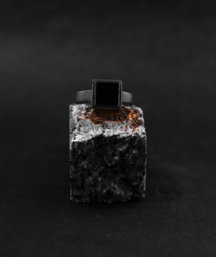 bold mens signet ring, square onyx mixed with oxidized sterling silver.