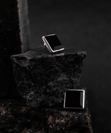RO STUDIO square shaped onyx earrings