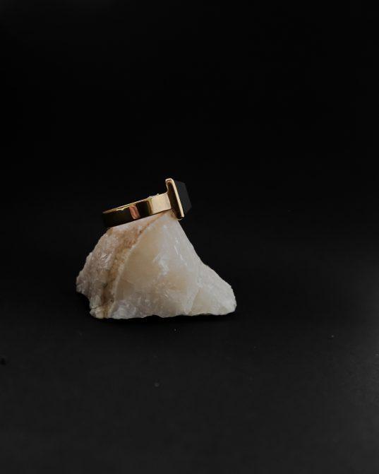 šis ikoniskais gredzens ir piemērots tiem, kuri vēlas parādīt citiem savu drosmīgo raksturu. apzeltīts sudrabs ar 10 mm x 16 mm onikss.