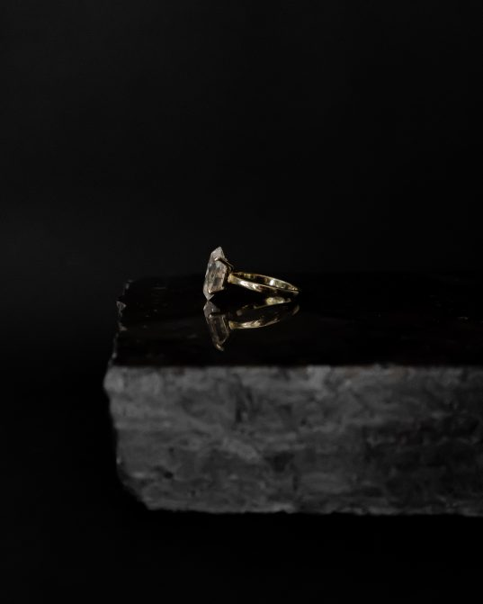 14K solid gold ring with 8 carat moissanite