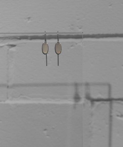 oval cacholong opal earrings