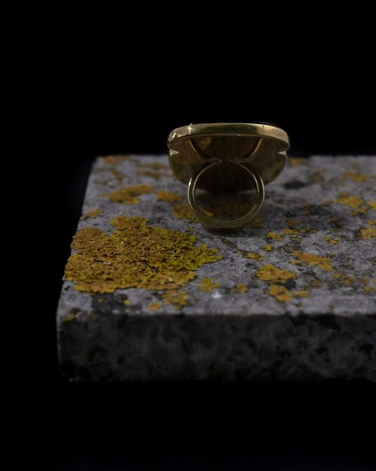 gold-plated sterling silver ring with onyx